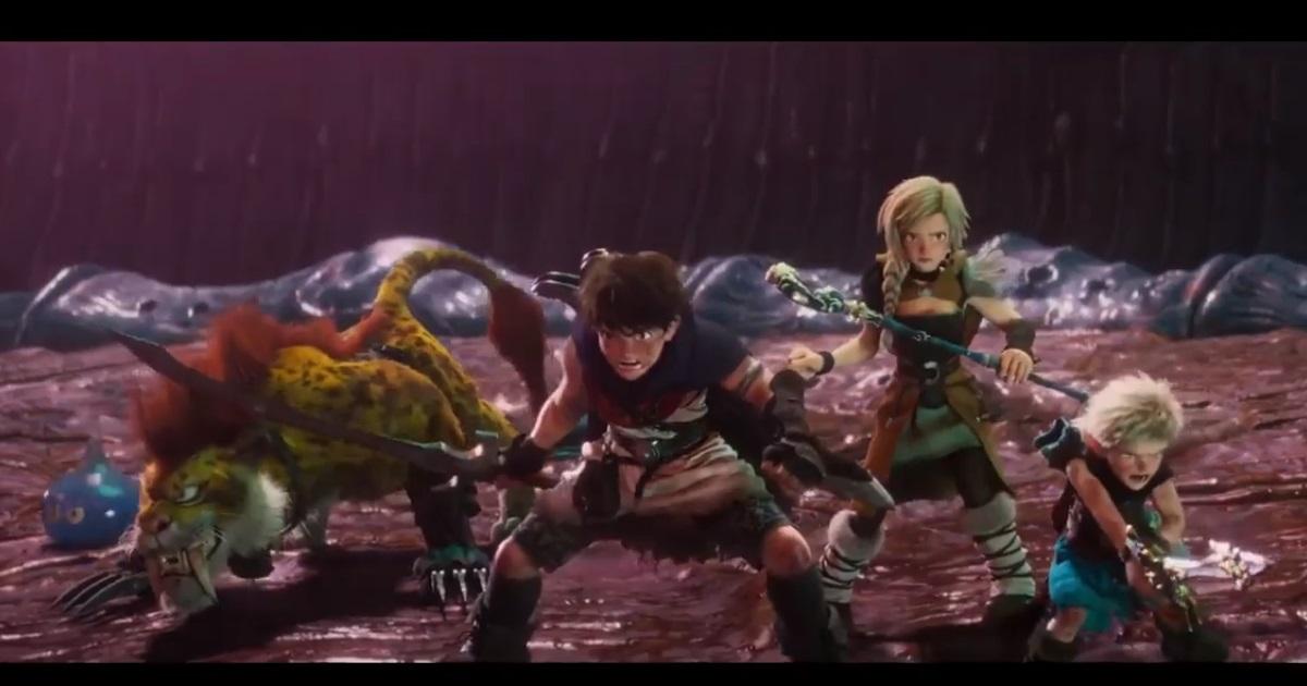 ドラゴンクエストユアストーリーで武器を構える主人公たち